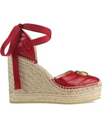 Gucci - Leather Platform Espadrille - Lyst