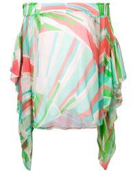 Emilio Pucci - Shell Print Off-shoulder Chiffon Silk Top - Lyst