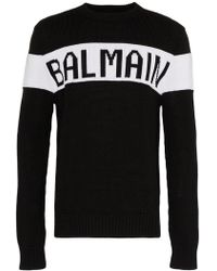 Balmain - Logo Intarsia Sweater - Lyst