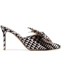 Alexandre Vauthier - Black And White Kate 90 Houndstooth Print Bow Embellished Mules - Lyst