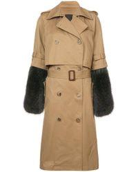 Vera Wang - Detachable Fur Sleeve Trench Coat - Lyst