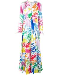 Mira Mikati - Scribble Printed Ruched Waist Dress - Lyst