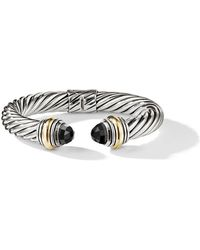 David Yurman - Cable Classics 14kt Yellow Gold Detailed And Onyx 10mm Cuff - Lyst