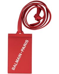Balmain Porte-carte à logo - Rouge