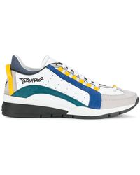 32cd4515000ee Dsquared² Leather Sneakers in Blue for Men - Save 31% - Lyst