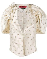 Ronald Van Der Kemp - Floral Embroidered V-neck Blouse With Puff Sleeves - Lyst