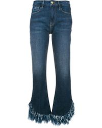 FRAME - Frayed Hem Cropped Jeans - Lyst
