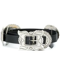 38e2233aba4cc Lyst - Saint Laurent Western Buckle Belt in Black