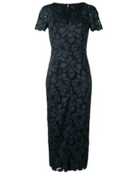 Talbot Runhof - Lotus Lace Fitted Dress - Lyst