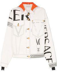 Versace - Hooded Print Denim Jacket White - Lyst