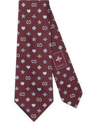 Gucci - Corbata de seda con motivo de símbolos - Lyst