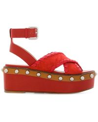 RED Valentino - Open-toe Wedge Sandals - Lyst