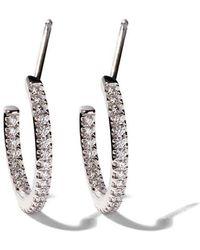 De Beers - 18kt White Gold Micropavé Hoop Diamond Earrings - Lyst