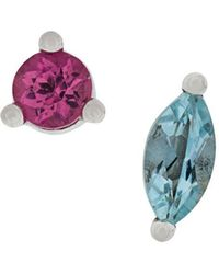 Delfina Delettrez - 18kt White Gold Dots Solitaire Aquamarine And Pink Tourmaline Earrings - Lyst