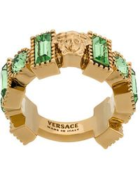 Versace - Chunky Jewelled Medusa Ring - Lyst