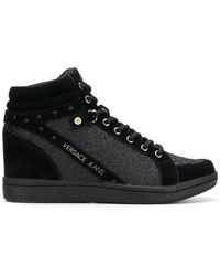 Versace Jeans - Glitter Quilted Hi-top Trainers - Lyst
