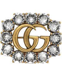 Gucci Spilla 'Metal Double G' - Metallizzato