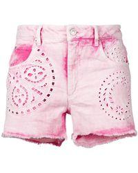 Isabel Marant - Cutout Faded Shorts - Lyst