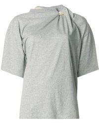 Y. Project - T-shirt con scollo modello nodo cravatta - Lyst