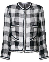 Ermanno Scervino - Checkered Jacket With Embroidered Trim - Lyst