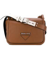 cd30dc6438fd Prada Embossed Square Shoulder Bag in Brown - Lyst