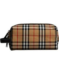 Burberry - Vintage Check And Leather Pouch - Lyst