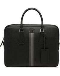Prada - Stripe-detail Briefcase - Lyst