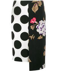 MSGM | Polka Dot Floral Panelled Skirt | Lyst