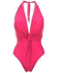 Martha Medeiros - Twisted Detail Halterneck Swimsuit - Lyst
