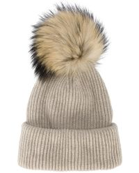 Inverni - Neutral Ribbed Cashmere Hat With Fur Pom Pom - Lyst