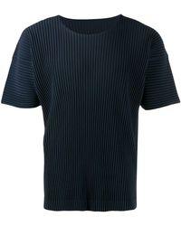 Issey Miyake T-shirt plissé - Bleu