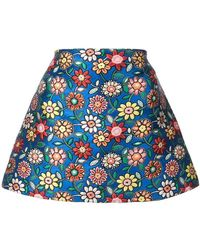 Alice + Olivia - Floral Embroidery Short Skirt - Lyst