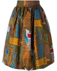 Stella Jean Jupe imprimée à godets - Multicolore