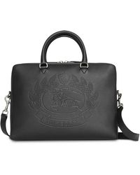 Burberry - Embossed Crest Leather Briefcase - Lyst