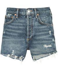 Agolde - Jaden Distressed Denim Shorts - Lyst
