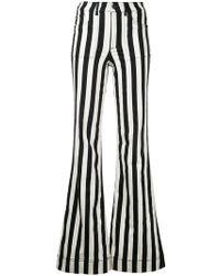 Alice + Olivia - Striped Wide Leg Jeans - Lyst