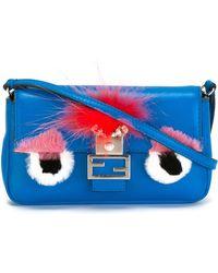 Fendi | Micro Baguette Fur-embellished Cross-body Bag | Lyst