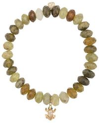 Sydney Evan - 14kt Gold, Diamond, Garnet And Tourmaline Frog Charm Beaded Bracelet - Lyst