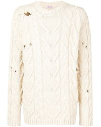 Palm Angels | Distressed Cable Knit Jumper | Lyst