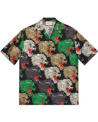 Gucci - Panther Face Bowling Shirt - Lyst