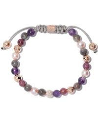 Shamballa Jewels - 18kt Yellow Gold, Sapphire & Ruby Beaded Non-braided Bracelet - Lyst