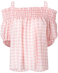 Boutique Moschino - Gingham Cold Shoulder Top - Lyst