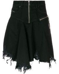 DIESEL - Frayed Skater Skirt - Lyst