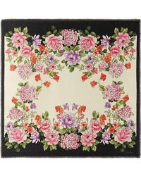 Gucci - Modal Silk Shawl With Rising Flower Print - Lyst