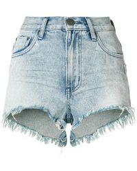 One Teaspoon - Frayed Mini Denim Shorts - Lyst