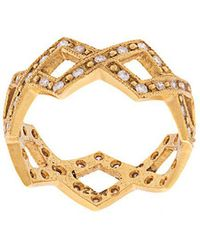 Cathy Waterman - 22kt Gold And Diamond Braided Ring - Lyst