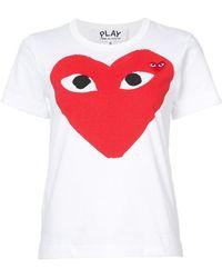 Play Comme des Garçons - Heart Print And Application T-shirt - Lyst