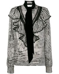 Preen By Thornton Bregazzi - Phillipa Scarf Detail Striped Blouse - Lyst