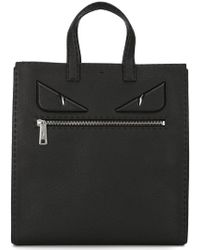 5992c238feb2 Lyst - Fendi Bag Bugs Leather And Nylon Tote in Gray for Men
