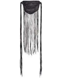 Caravana - Black Fringed Cross Body Leather Bag - Lyst